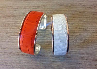 Bracelet manchette croco mat orange lézard blanc