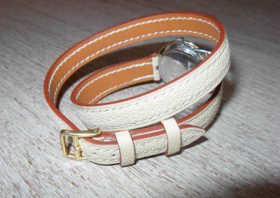 Bracelet montre chêvre blanc