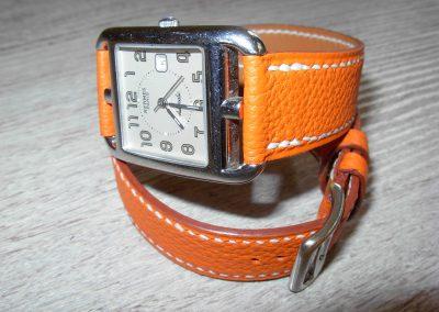 Bracelet montre double-tour taurillon orange
