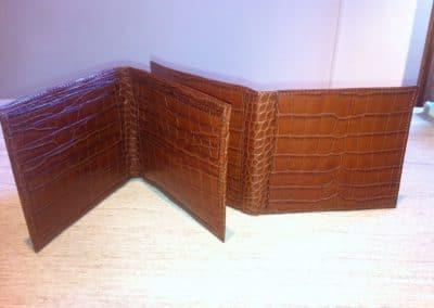 Porte-cartes croco mat marron