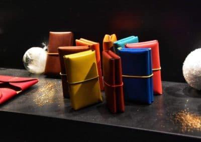 Porte-cartes et porte-monnaies élastiques bi color cuir de veau