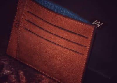 Porte cartes veau souple marron doublé bleu
