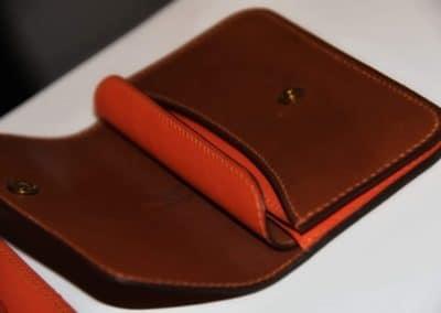 Porte monnaies cousus main multi poches cuir de veau bi color